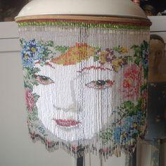 Work in progress, beaded lampshade