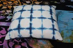 Front Side has Indigo Blue With White Color Tie & Dye Shibori Pattern. This is a Cotton Fabric Hand Quilted Kantha Work Cushion cover. - White And Blue Color Thread Are Used To Develop The Kantha Pattern. Shibori, Blue Cushion Covers, Printed Cushions, Living Room Art, Hand Quilting, Decoration, Decorative Pillows, Print Design, Tie Dye