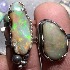Couple more opal rings finished up today 👍🏻#opallove #forsale #lapidary #bijoux #beautiful #instagood #instagram #opalring #roughopal #silversmith #smallbiz #love #islandlife #vancouver #canada #jewelry #jewelryforsale