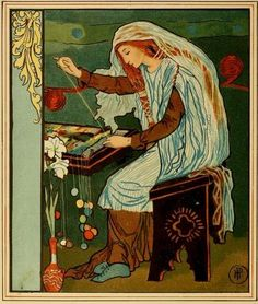"""Pyle, Howard (1853-1911), """"The Lady of Shalott Weaving,"""" from: Tennyson, Alfred. The Lady of Shalott.  Rose Briar"""
