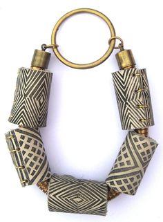 Printed Textile Motif Tube Bracelet
