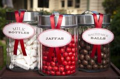 red, white and chocolate candies