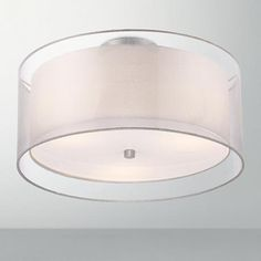 "bedrooms.    3     Silver Organza outer shade     Possini Euro Design Double Drum 18"" Wide White Ceiling Light"