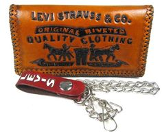 Cool tooled leather chain wallet