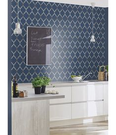 This Fretwork Geometric Wallpaper features a geometric trellis pattern in metallic silver on a soft textured midnight blue background. Free UK delivery available Geometric Wallpaper Prints, Textured Wallpaper, Wall Wallpaper, Wallpaper Ideas, Kitchen Wallpaper Accent Wall, Trellis Pattern, High Quality Wallpapers, Blue Wallpapers, Hallway Decorating