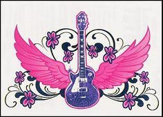 """Purple Guitar Temporaray Tattoo by Tattoo Fun. $4.95. This temporary tattoo is perfect for the Music enthusiast who also like to keep their femininity. The purple guitar looks great against the pink wings. This 3 1/2"""" X 2 1/2"""" desig makes it perfect for placing it on the lower back. You can also place it on the shoulder blade or maybe on the shoulder. either way it will look great."""