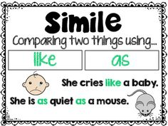 Similes Poster and Task Cards Kids Learning Activities, Teaching Ideas, Similes And Metaphors, English Grammar, English Language, Language Arts, Grammar And Punctuation, Middle School English, Mentor Texts