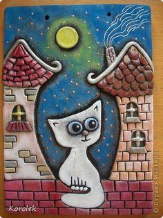 Картина панно рисунок Лепка Литьё Кот на крыше Солёное тесто Гипс Тесто соленое фото 3