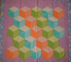 Tumbling Block Quilt or Wall Hanging on Etsy, $75.00