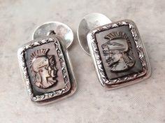 Roman Centurion Cufflinks 900 Silver Black Mother by cutterstone