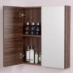 Aspen 60cm 2 Door Walnut Mirror Cabinet