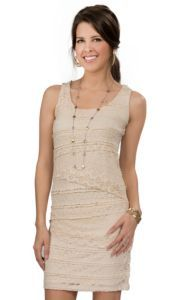 Anne French® Women's Cream Lace Tiered Sleeveless Dress | Cavender's
