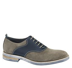 BARTLEY PERFED SADDLE - Gray Italian Suede/Navy Calfskin