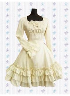 Sweet Square Tiers Natural Knee-length Cotton Lolita Dress With Ruffles