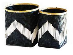 Large Black and White Bamboo Basket