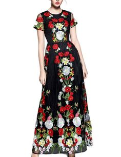 LovingDress Women's Dress Tulle with Retro Flower Embroidery Maxi Puff Dress Size Medium US Black