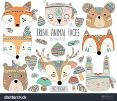 Woodland Tribal Animal Faces and Design Elements Vector