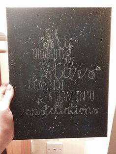 The fault in our stars birthday present made by myself. Poked holes in a painted canvas-lovely effect