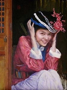 Girl from Chinese PuMi Minority by artist Echo Baker. #oilpainting found on the FASO Daily Art Show - http://dailyartshow.faso.com