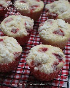 Strawberry Butter Streusel Muffins. Ingredients: flour, sugar, baking powder, salt, milk, eggs, butter, vanilla, strawberries