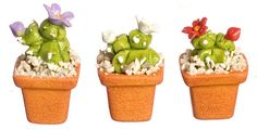 Cactus in Pot 3pc Set | Mary's Dollhouse Miniatures