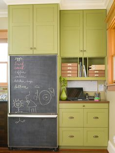 Keep track of grocery lists and other memos with a kitchen chalkboard.