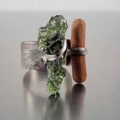 Moldavite Ring - Forest Spirit Dark green handmade statement adjustable ring with rough Czech Moldavite and wood.