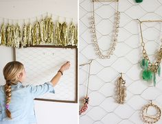 Hang a pretty garland on top of your DIY Jewelry organizer to decorate it