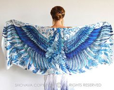 Blue Wings scarf Hand painted printed Wings and by Shovava on Etsy