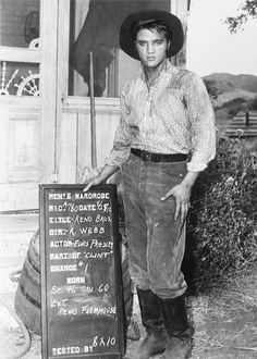 "August 28, 1956:  Elvis has hís wardrobe test for the ""Reno Farmhouse"" scene. The shooting of ""The Reno Brothers"" (later renamed ""Love Me Tender"") took place from August 23 until October 8, 1956. The outdoor scenes were filmed on a ranch in the San Fernando Valley in California."
