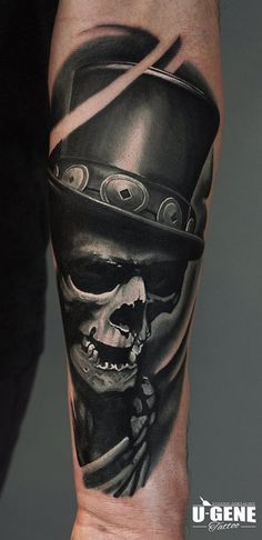Sweet skull with top hat tattoo