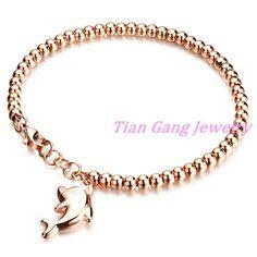 Women's Stainless Steel Bracelets Rose Gold Bead Bracelet Jewelry Dolphin Fashion Bead Bracelet Gift Wholesale