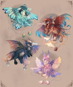 1 is mine and 2 and 4 are taken from Emma Jones >>> Nika adopted 3 Mythical Creatures Art, Mystical Animals, Cute Creatures, Magical Creatures, Cute Animal Drawings, Kawaii Drawings, Cute Drawings, Creature Drawings, Creature Concept
