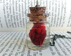 Anatomical  heart -Science Jewelry - Geek Jewelry -Nerd Jewelry - Glass Bottle Necklace - Anatomy Jewelry - Geek Art - Science Art - Human -