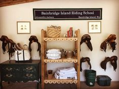 Organize your tack room with plenty of baskets, bins, and hooks.