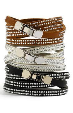 Mini Crystal Leather Wrap Bracelet