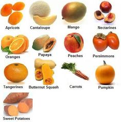 ORANGE~Orange Fruits and Vegetables-Carotenoids are the powerful phytochemical in orange foods, and they are what give the foods their color. Carotenoids repair DNA and help prevent cancer and heart disease, as well as strengthening our vision. Healthy Tips, Healthy Choices, Healthy Recipes, Healthy Food, Healthy Heart, Healthy Fruits, Diet Recipes, Health And Nutrition, Health And Wellness