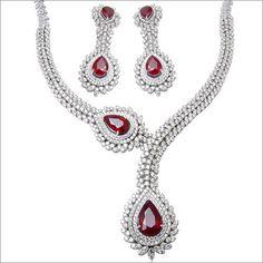 Diamond Necklace Jewelry | cartier design necklace set diamond jewelry with rubies heavy necklace ...