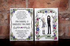 Printed Wedding Invitation - Custom Illustration Portrait and Flowers Hand Drawn by EmmyDesigns87 on Etsy https://www.etsy.com/listing/222304856/printed-wedding-invitation-custom