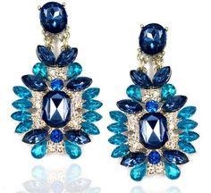 Luxury Attractive Blue Clear Rhinestone Crystal Cluster Dangle Stud Earrings #Handmade #Cluster