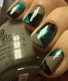 Sinfuls Black on Black, China Glaze Recycle & OPI Catch Me In Your Net