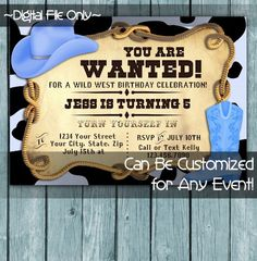 Printable Perfection | Personalized Printable Invitations | Birthday | Cowboy Blue Boots and Hat 1