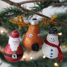 Glittery Light Bulb Ornament #craft #Christmas #light_bulb #decor