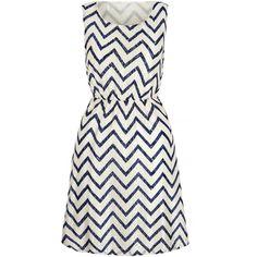 Iska London Navy & White Zigzag Blouson Dress ($35) ❤ liked on Polyvore featuring dresses, long print dress, pattern dress, sleeveless print dress, no sleeve dress and long dresses