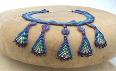 Seed Beaded Necklace with pendants of Amethyst and Garnet stones, Art jewelry, beadwoven necklace