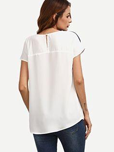 e37738291973e8 ROMWE Women s color block short sleeve Casual Tunic Tops
