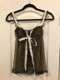 Victoria s Secret Leopard Babydoll Lingerie with White Satin Tie Size Med   NEW!  fashion f3dcf131e