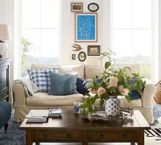 Cottage and Vine: Right Now at Pottery Barn.  Love this layered, collected room.