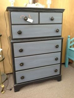 $169 - This is a vintage solid wood 6 drawer dresser. Painted black, drawer fronts accented with gray. Lightly distressed and a dark wax has been hand applied. ***** In Booth D11 at Main Street Antique Mall 7260 E Main St (east of Power RD on MAIN STREET) Mesa Az 85207 **** Open 7 days a week 10:00AM-5:30PM **** Call for more information 480 924 1122 **** We Accept cash, debit, VISA, Mastercard, Discover or American Express
