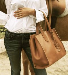 Equestrian Leather Tote Bag | The ideal size for a change of clothes and getting ready essen... | Messenger Bags
